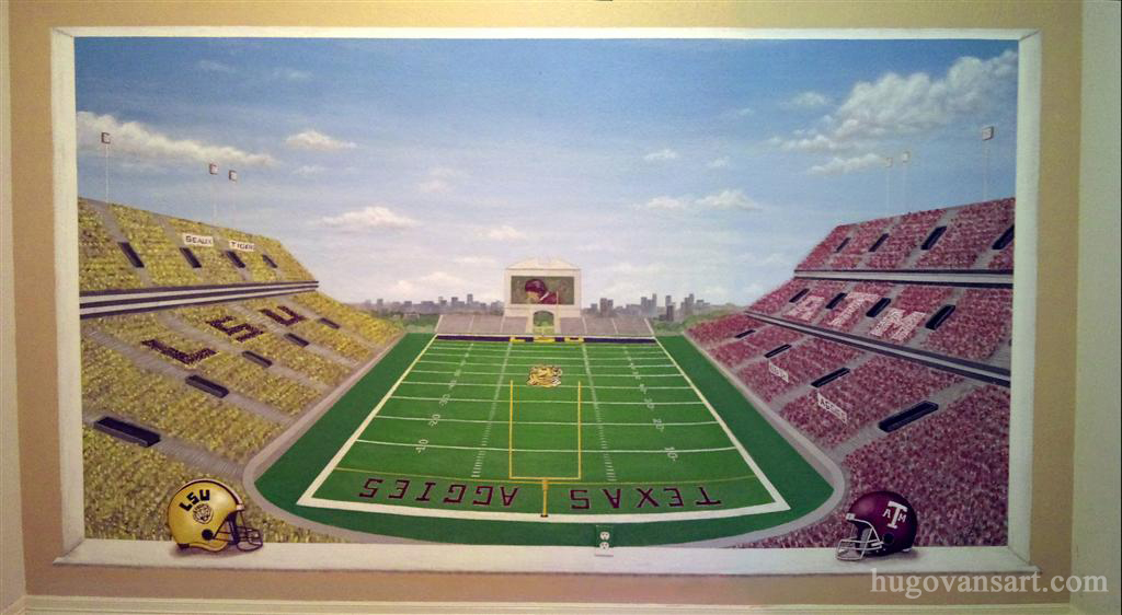 Football Stadium Trompe L'oeil Sports Mural